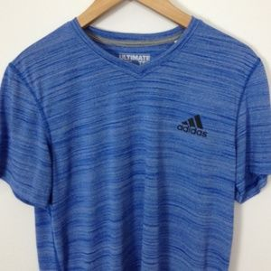 Adidas Men 100% Polyester M Blue V-Neck T-Shirt